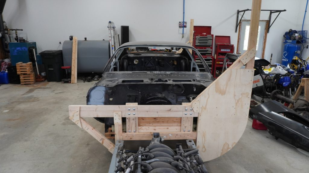 Front tip over jig attached to Camaro