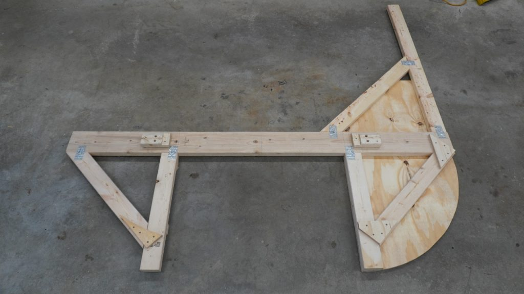 Rear view of assembled tip over jig