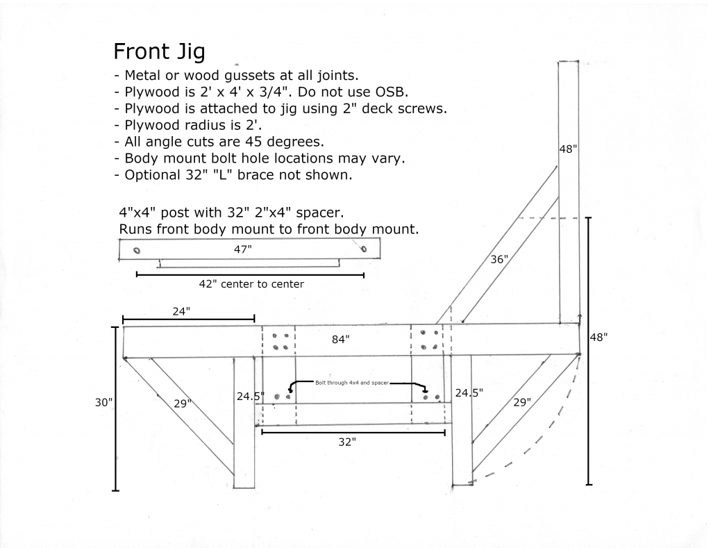 Front wooden tip over jig dimensions