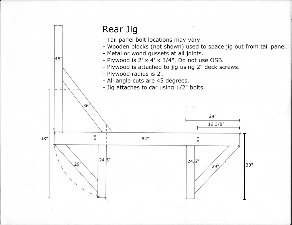 Rear wooden tip over jig dimensions